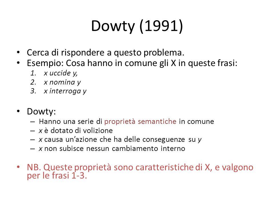 Dowty (1991) Cerca di rispondere a questo problema.
