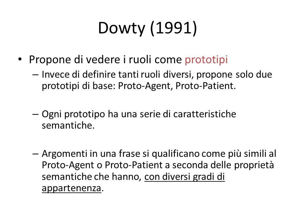 Dowty (1991) Propone di vedere i ruoli come prototipi