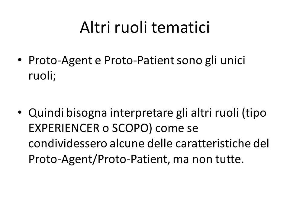 Altri ruoli tematici Proto-Agent e Proto-Patient sono gli unici ruoli;