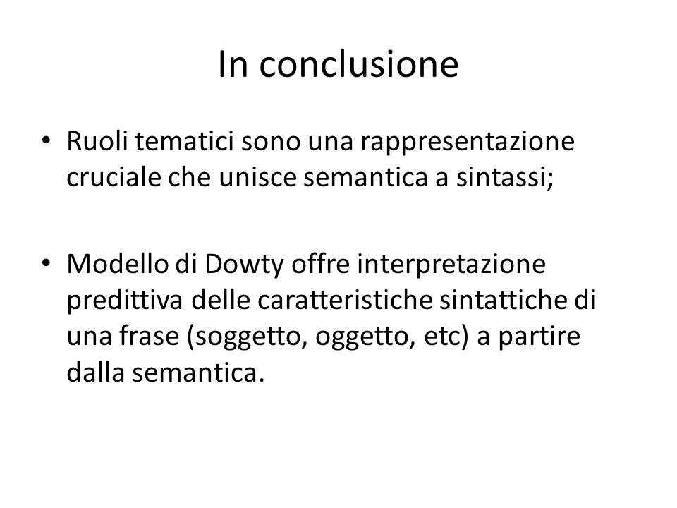 In conclusione Ruoli tematici sono una rappresentazione cruciale che unisce semantica a sintassi;