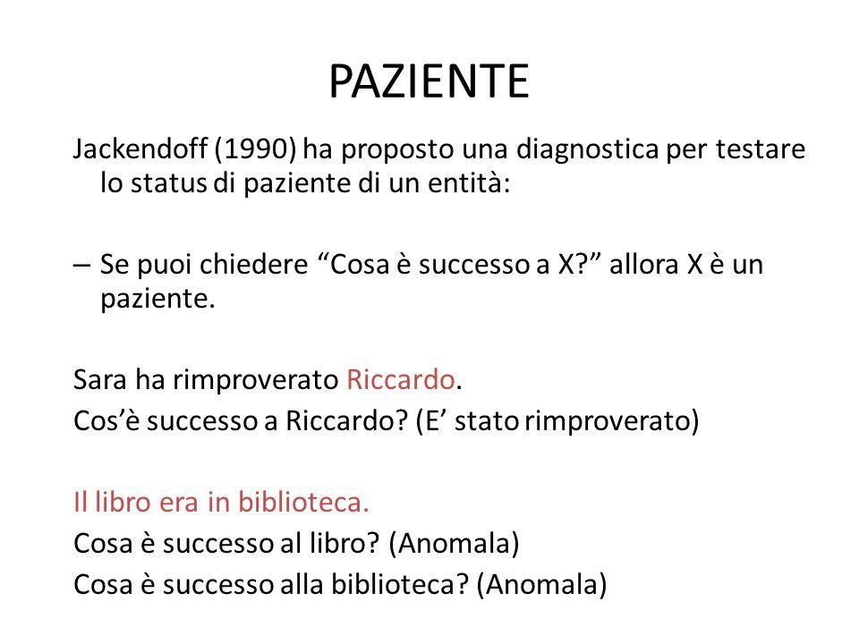 PAZIENTE Jackendoff (1990) ha proposto una diagnostica per testare lo status di paziente di un entità: