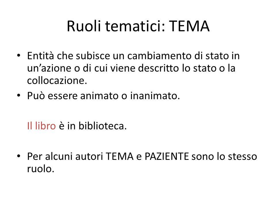 Ruoli tematici: TEMA Entità che subisce un cambiamento di stato in un'azione o di cui viene descritto lo stato o la collocazione.
