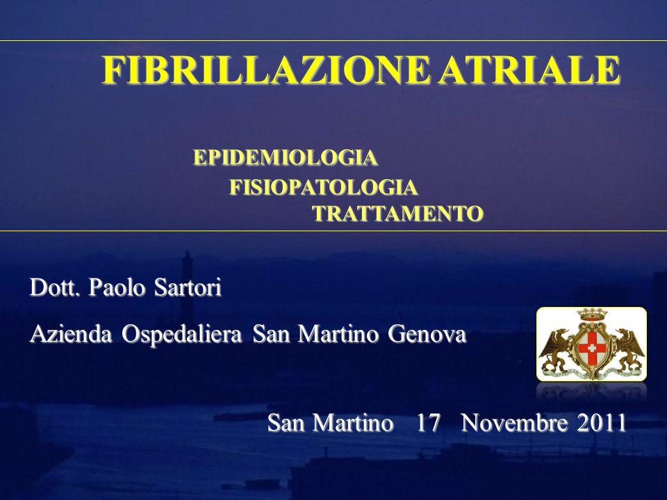 FIBRILLAZIONE ATRIALE EPIDEMIOLOGIA FISIOPATOLOGIA TRATTAMENTO