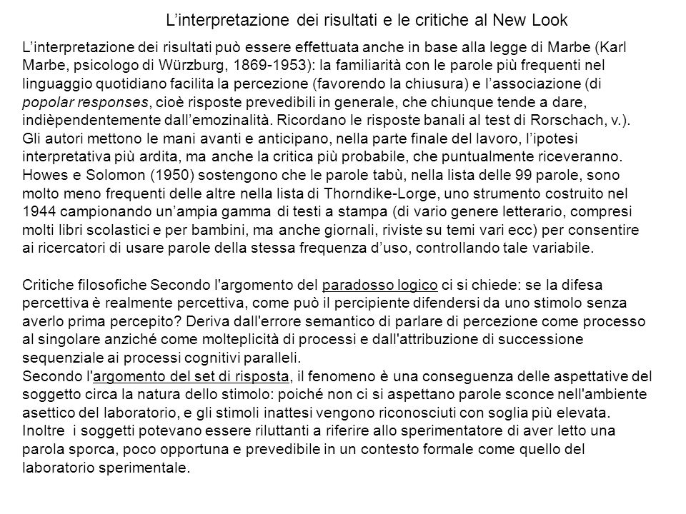 L'interpretazione dei risultati e le critiche al New Look