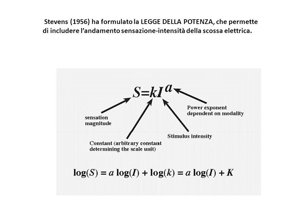 Stevens (1956) ha formulato la LEGGE DELLA POTENZA, che permette di includere l'andamento sensazione-intensità della scossa elettrica.