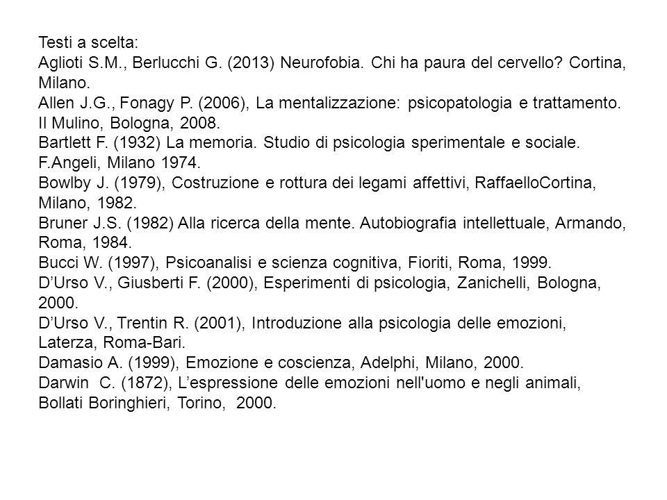 Testi a scelta: Aglioti S.M., Berlucchi G. (2013) Neurofobia. Chi ha paura del cervello Cortina, Milano.