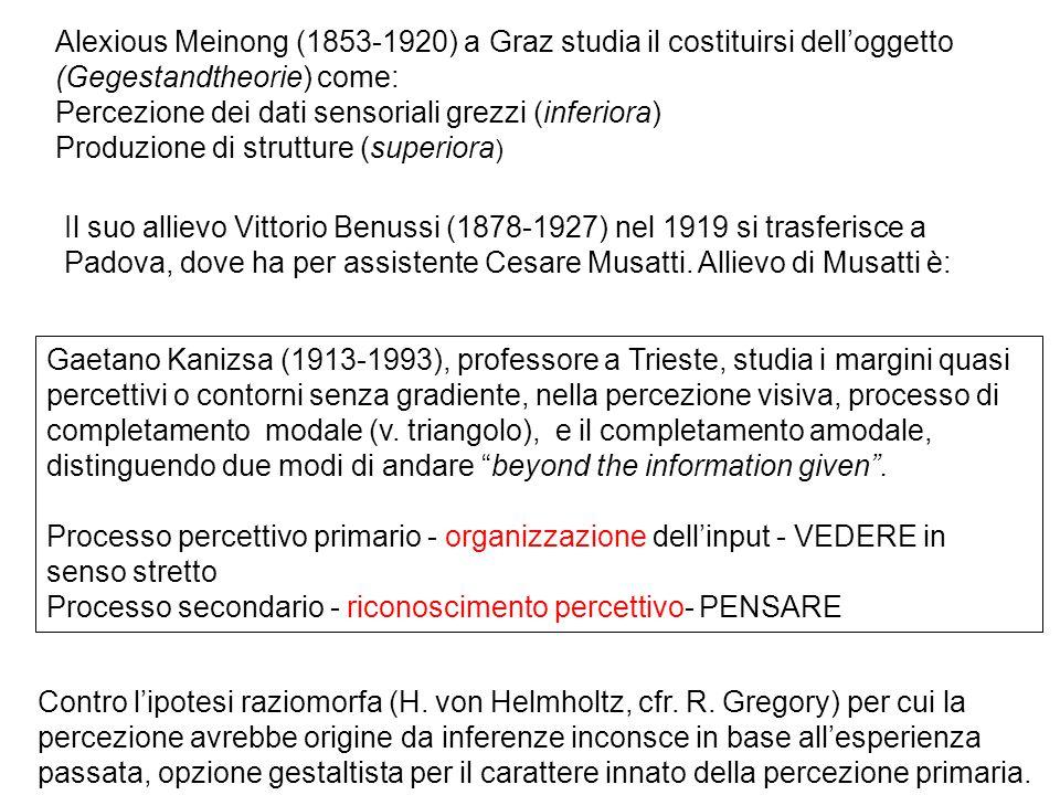 Alexious Meinong (1853-1920) a Graz studia il costituirsi dell'oggetto (Gegestandtheorie) come: