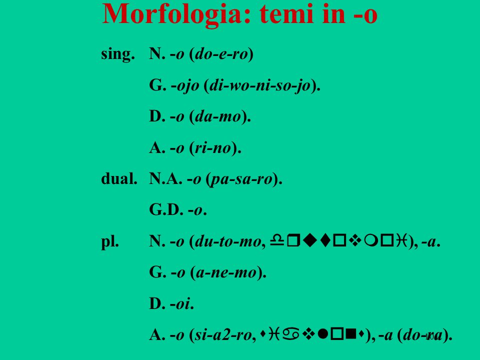 Morfologia: temi in -o sing. N. -o (do-e-ro) G. -ojo (di-wo-ni-so-jo).