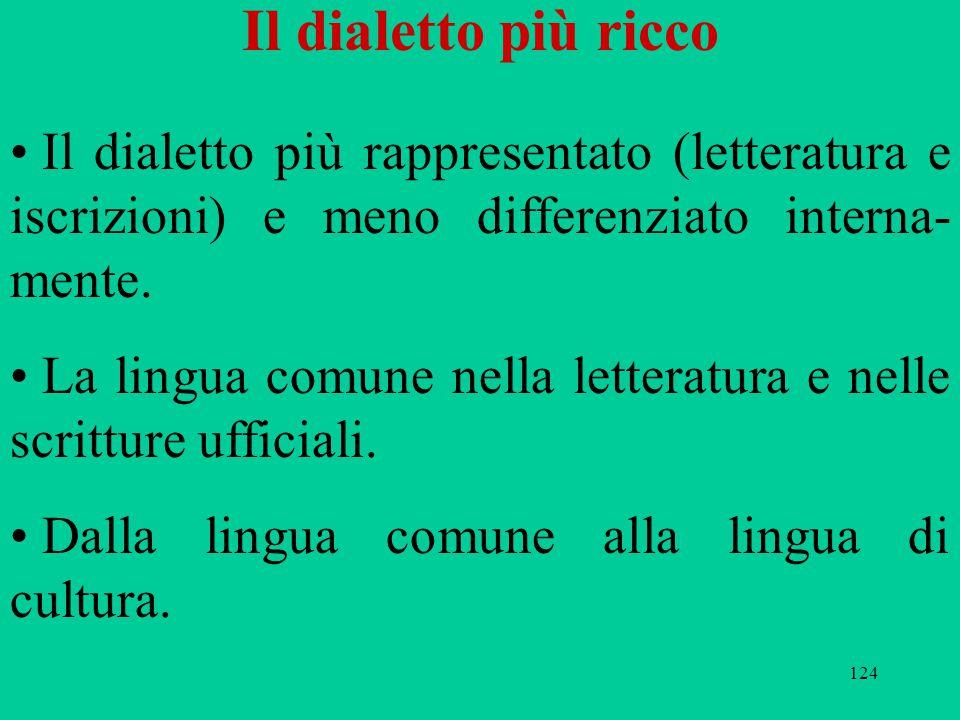 Il dialetto più ricco Il dialetto più rappresentato (letteratura e iscrizioni) e meno differenziato interna-mente.