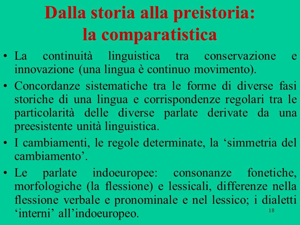 Dalla storia alla preistoria: la comparatistica
