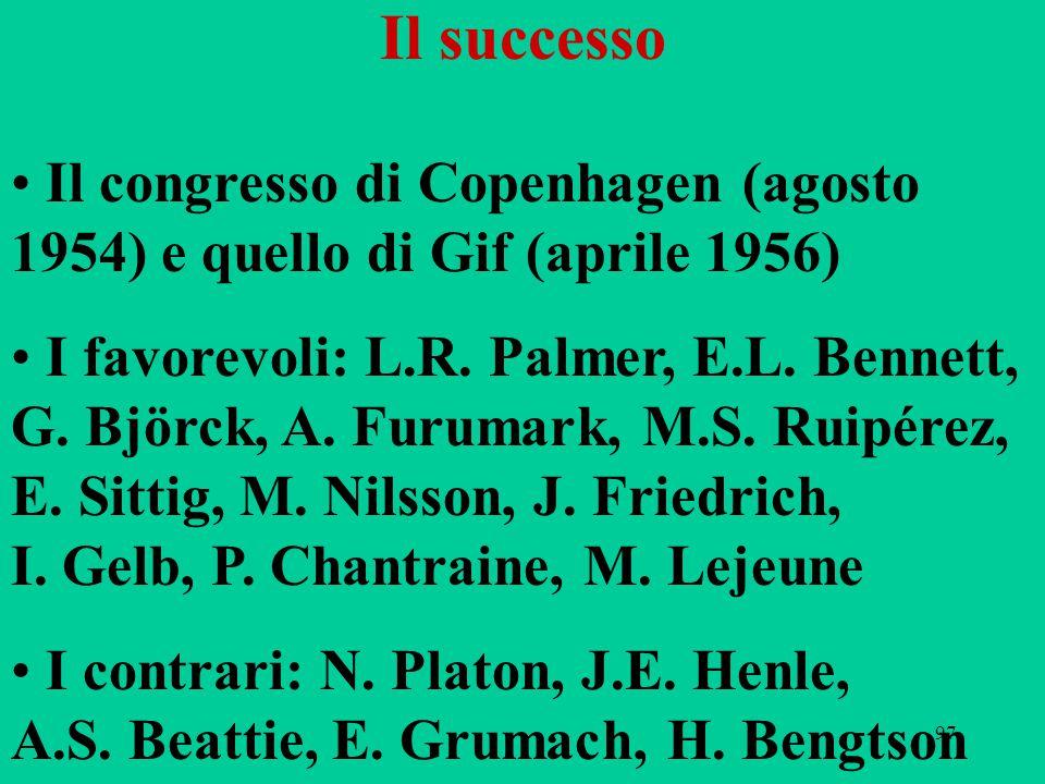 Il successo Il congresso di Copenhagen (agosto 1954) e quello di Gif (aprile 1956)