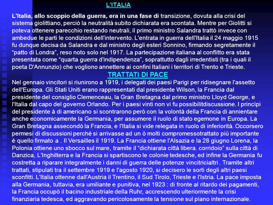 TRATTATI DI PACE L ITALIA