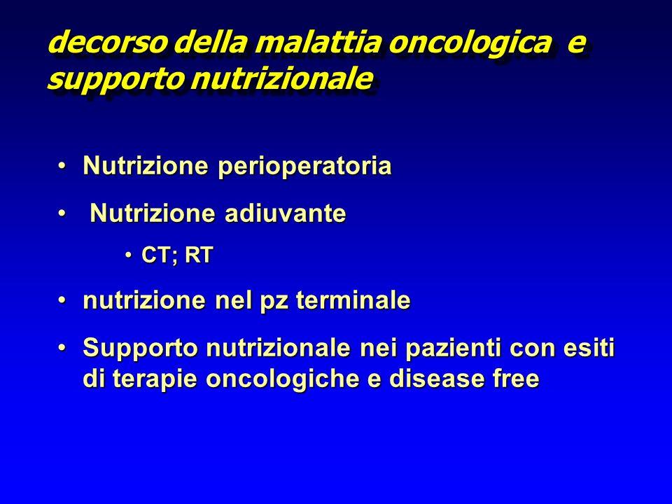 decorso della malattia oncologica e supporto nutrizionale