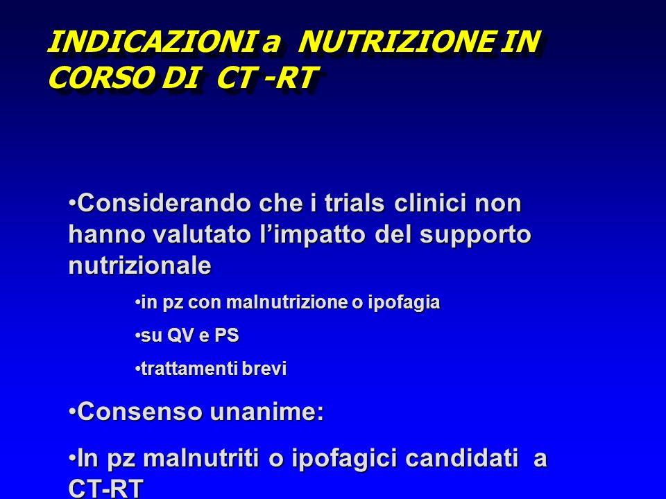 INDICAZIONI a NUTRIZIONE IN CORSO DI CT -RT