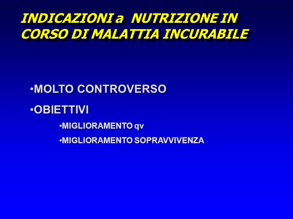 INDICAZIONI a NUTRIZIONE IN CORSO DI MALATTIA INCURABILE