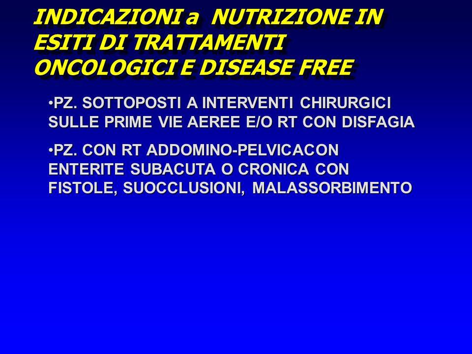 INDICAZIONI a NUTRIZIONE IN ESITI DI TRATTAMENTI ONCOLOGICI E DISEASE FREE