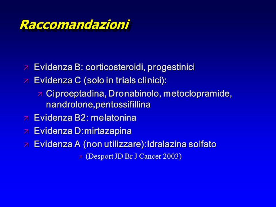 Raccomandazioni Evidenza B: corticosteroidi, progestinici