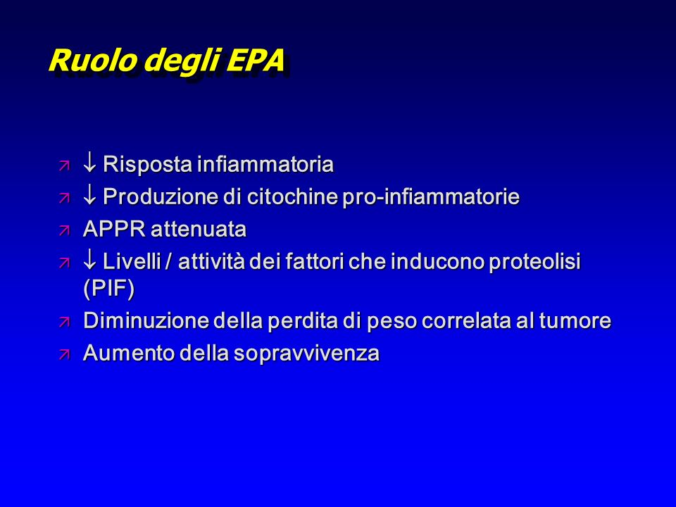 Ruolo degli EPA  Risposta infiammatoria