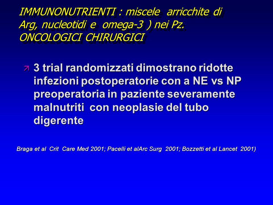 IMMUNONUTRIENTI : miscele arricchite di Arg, nucleotidi e omega-3 ) nei Pz. ONCOLOGICI CHIRURGICI