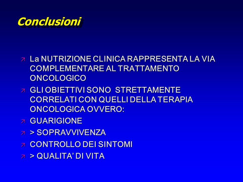 Conclusioni La NUTRIZIONE CLINICA RAPPRESENTA LA VIA COMPLEMENTARE AL TRATTAMENTO ONCOLOGICO.