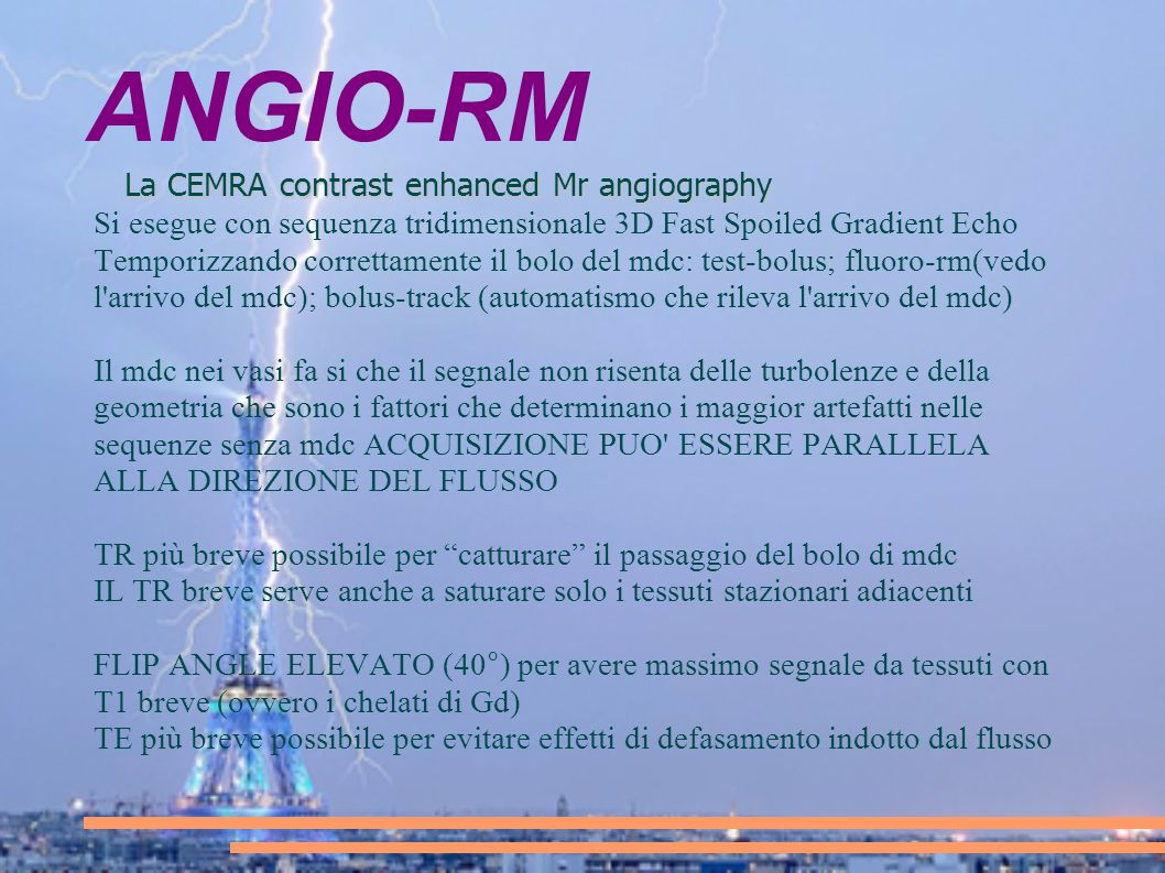 ANGIO-RM La CEMRA contrast enhanced Mr angiography