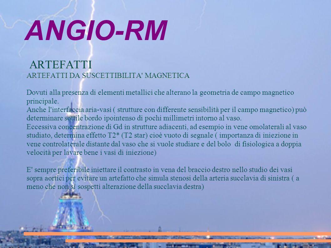 ANGIO-RM ARTEFATTI ARTEFATTI DA SUSCETTIBILITA MAGNETICA