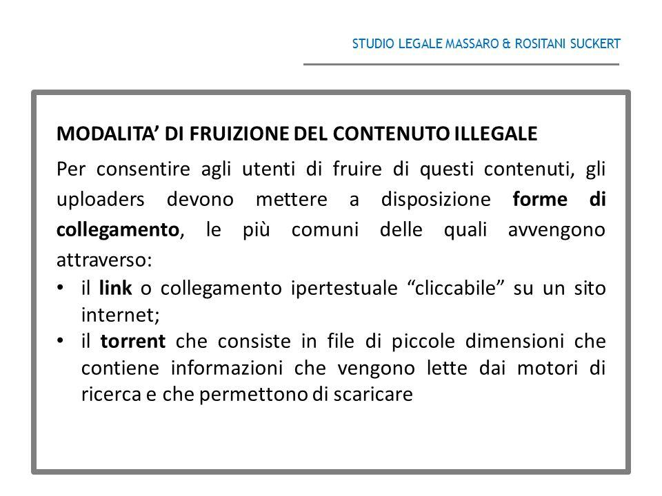 MODALITA' DI FRUIZIONE DEL CONTENUTO ILLEGALE