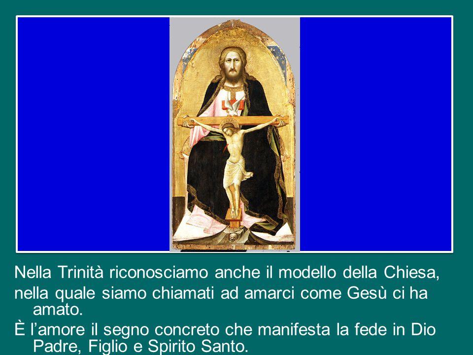 Nella Trinità riconosciamo anche il modello della Chiesa, nella quale siamo chiamati ad amarci come Gesù ci ha amato.