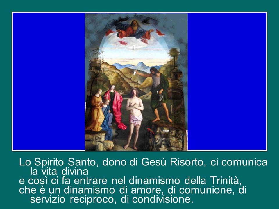 Lo Spirito Santo, dono di Gesù Risorto, ci comunica la vita divina e così ci fa entrare nel dinamismo della Trinità, che è un dinamismo di amore, di comunione, di servizio reciproco, di condivisione.