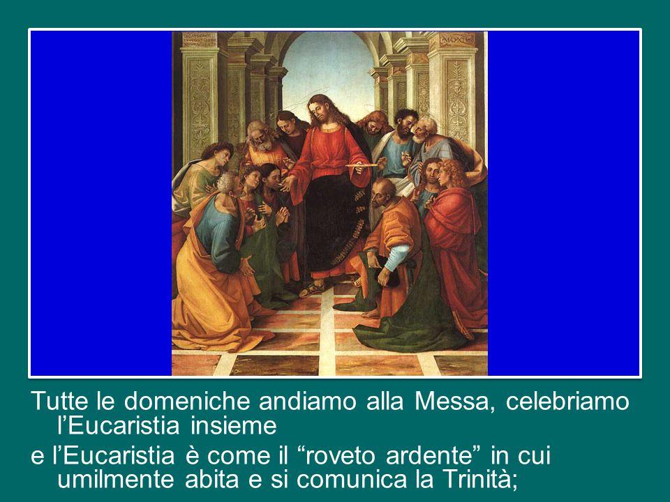 Tutte le domeniche andiamo alla Messa, celebriamo l'Eucaristia insieme e l'Eucaristia è come il roveto ardente in cui umilmente abita e si comunica la Trinità;
