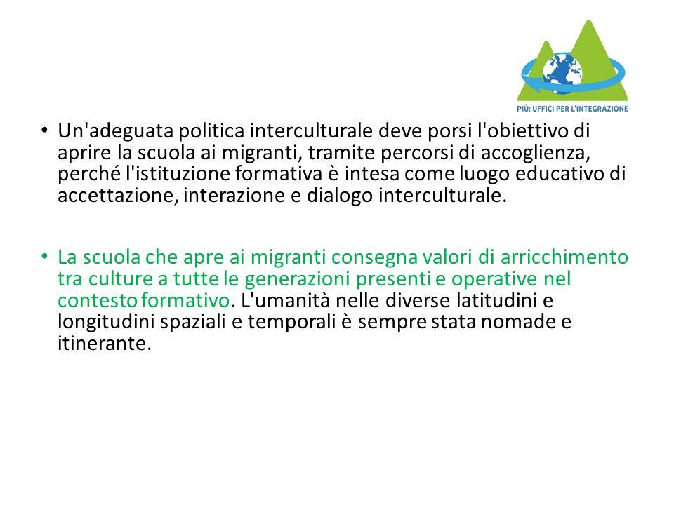 Un adeguata politica interculturale deve porsi l obiettivo di aprire la scuola ai migranti, tramite percorsi di accoglienza, perché l istituzione formativa è intesa come luogo educativo di accettazione, interazione e dialogo interculturale.