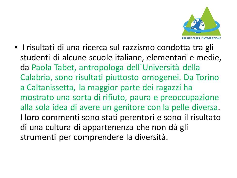 I risultati di una ricerca sul razzismo condotta tra gli studenti di alcune scuole italiane, elementari e medie, da Paola Tabet, antropologa dell`Università della Calabria, sono risultati piuttosto omogenei.