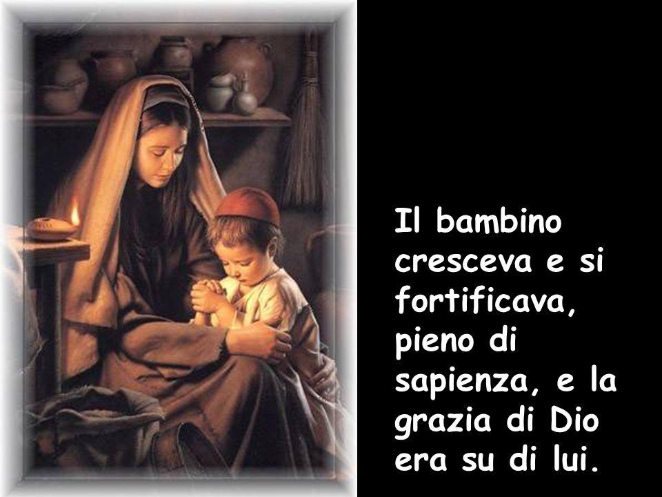 Il bambino cresceva e si fortificava, pieno di sapienza, e la grazia di Dio era su di lui.