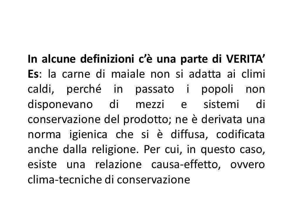 In alcune definizioni c'è una parte di VERITA' Es: la carne di maiale non si adatta ai climi caldi, perché in passato i popoli non disponevano di mezzi e sistemi di conservazione del prodotto; ne è derivata una norma igienica che si è diffusa, codificata anche dalla religione.