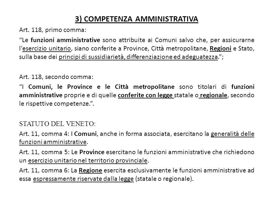3) COMPETENZA AMMINISTRATIVA
