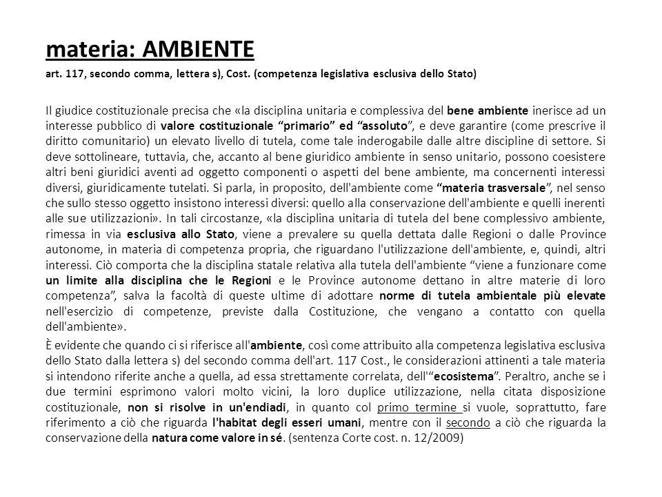 materia: AMBIENTE art. 117, secondo comma, lettera s), Cost. (competenza legislativa esclusiva dello Stato)