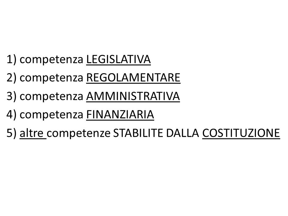 1) competenza LEGISLATIVA