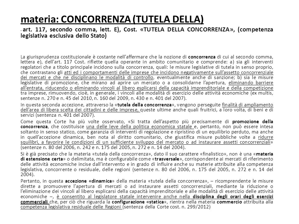 materia: CONCORRENZA (TUTELA DELLA)
