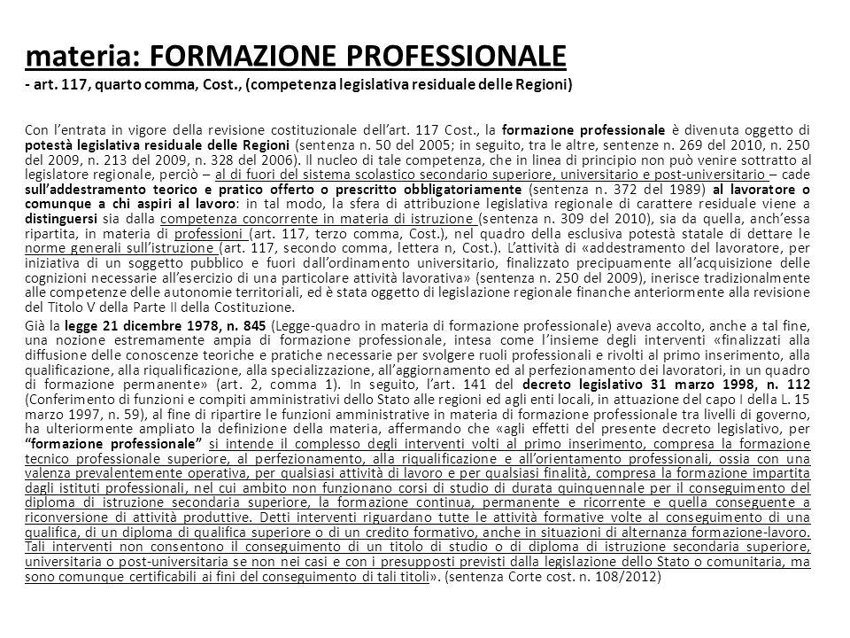 materia: FORMAZIONE PROFESSIONALE