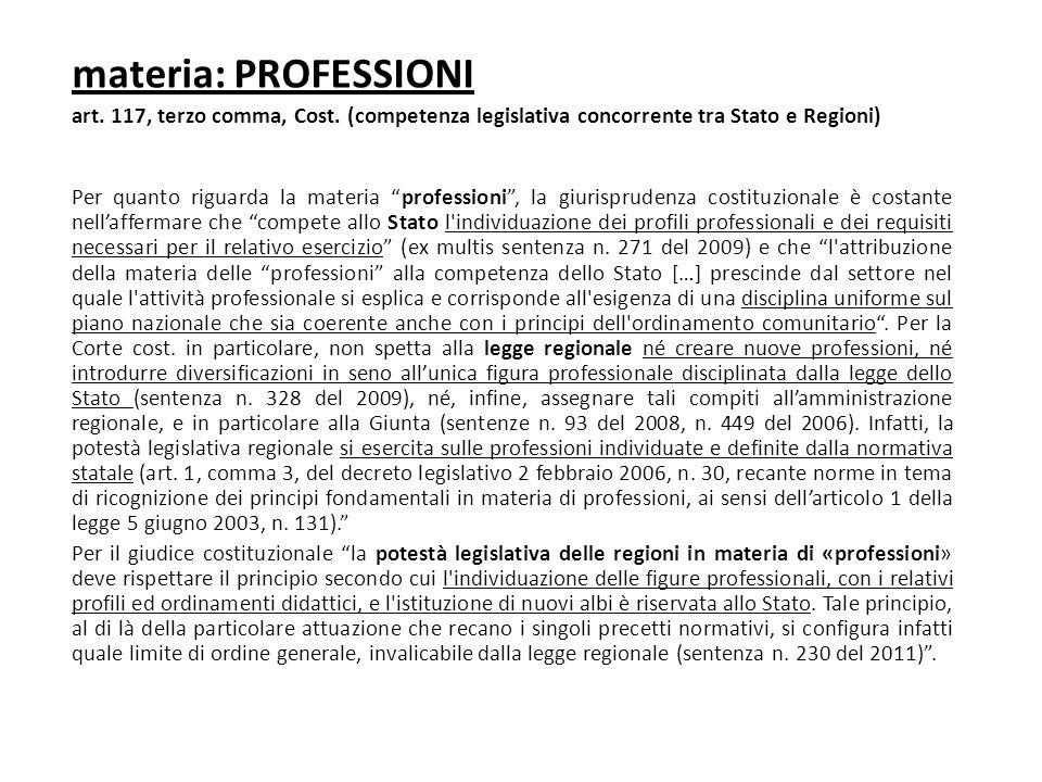 materia: PROFESSIONI art. 117, terzo comma, Cost. (competenza legislativa concorrente tra Stato e Regioni)