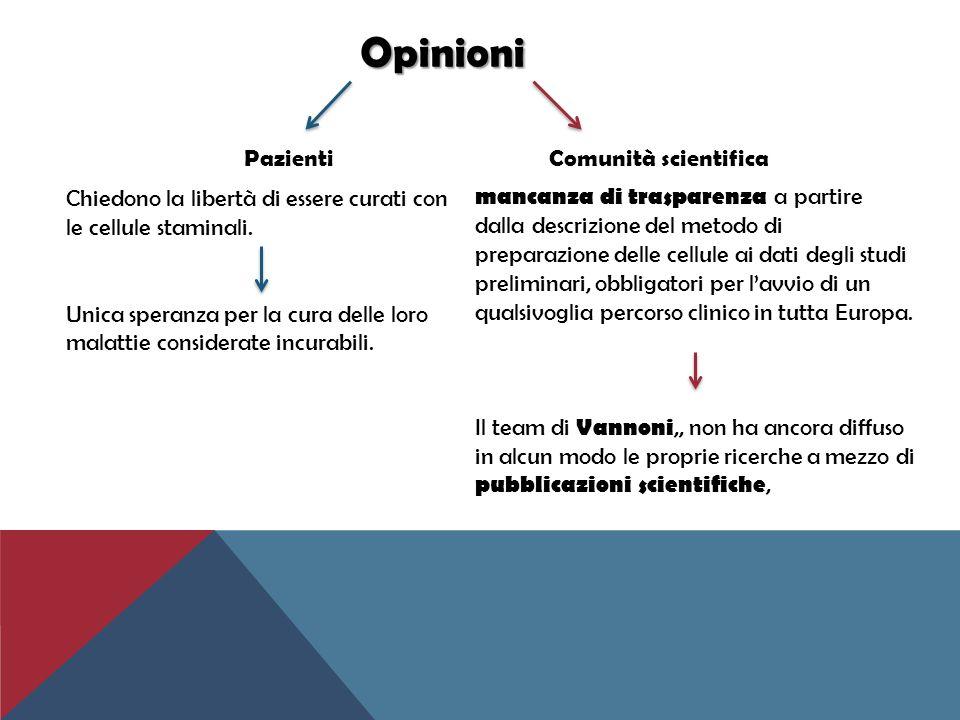 Opinioni Pazienti Comunità scientifica