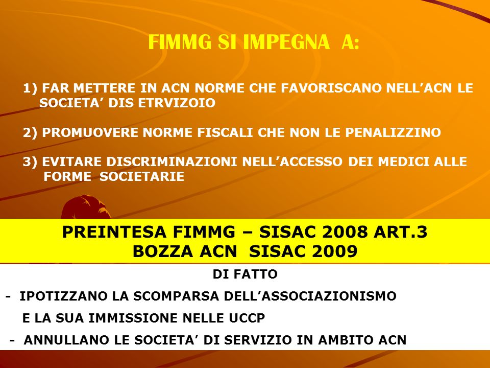 PREINTESA FIMMG – SISAC 2008 ART.3 BOZZA ACN SISAC 2009