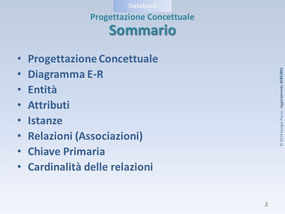Sommario Progettazione Concettuale Diagramma E-R Entità Attributi