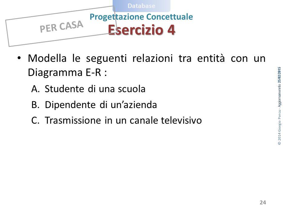 Esercizio 4 PER CASA. Modella le seguenti relazioni tra entità con un Diagramma E-R : Studente di una scuola.