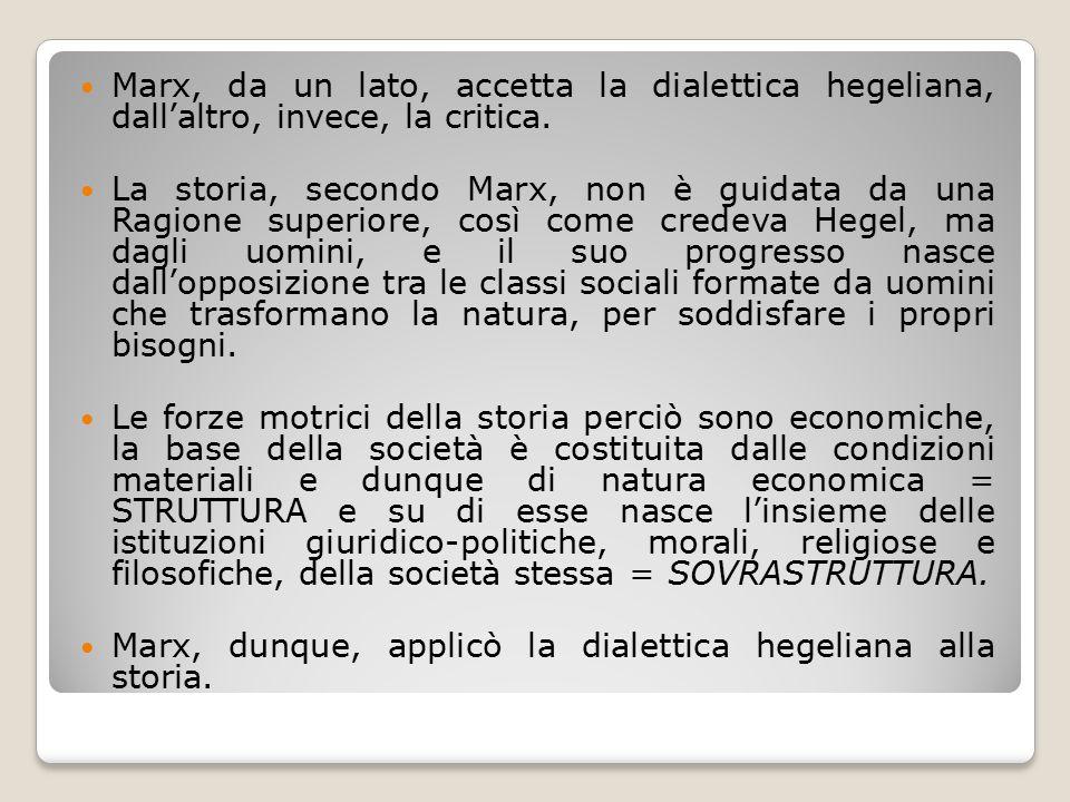Marx, da un lato, accetta la dialettica hegeliana, dall'altro, invece, la critica.