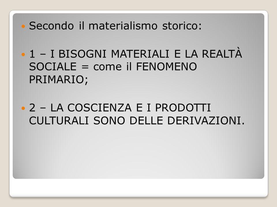 Secondo il materialismo storico: