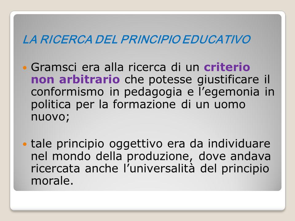 LA RICERCA DEL PRINCIPIO EDUCATIVO