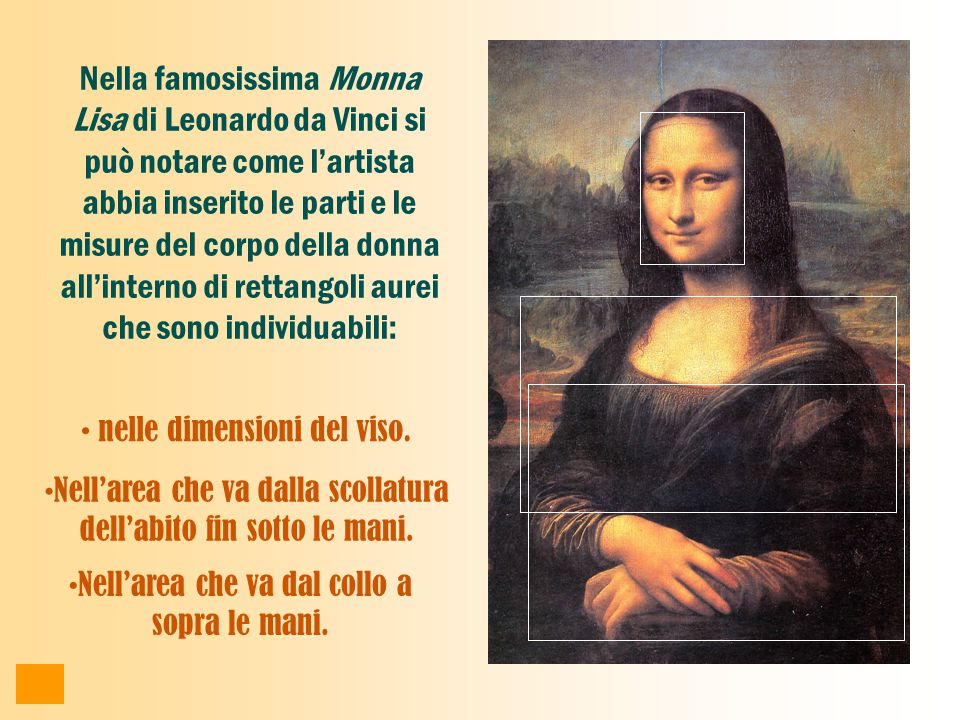Nella famosissima Monna Lisa di Leonardo da Vinci si può notare come l'artista abbia inserito le parti e le misure del corpo della donna all'interno di rettangoli aurei che sono individuabili: