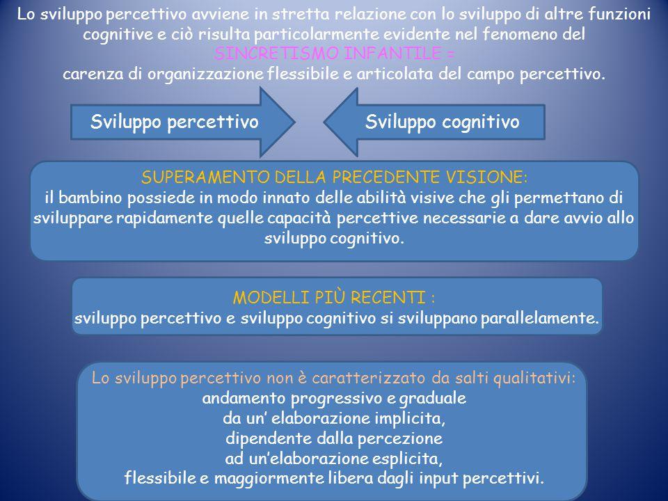 Sviluppo percettivo Sviluppo cognitivo