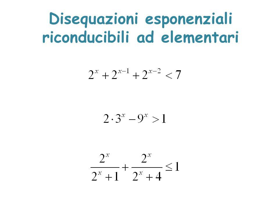 Disequazioni esponenziali riconducibili ad elementari
